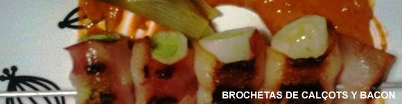 Brochetas de cal�ots con bacon