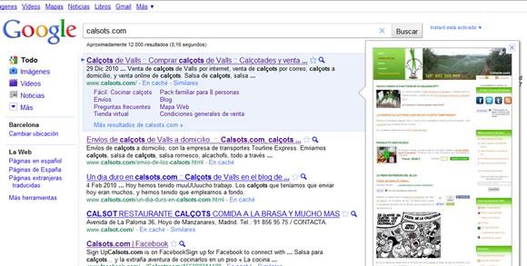Calçots de Valls en los resultados de búsqueda de Google