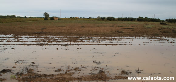 Campo inundado por las lluvias exageradas en Tarragona