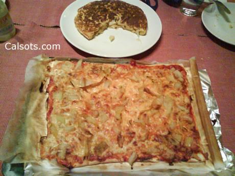 Calçots en truita i en pizza