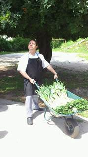 El cocinero trayendo los calçots