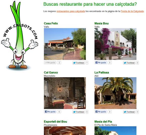 Restaurantes para calçotadas en Valls