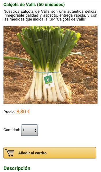 Página de producto de la versión móvil de Calsots.com