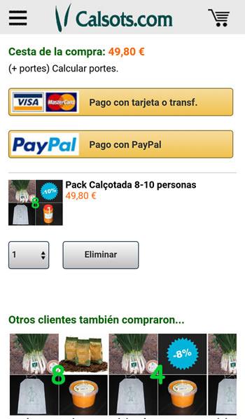 Cesta de la compra en la versión móvil de Calsots.com